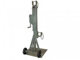 Mechanical cable drum trestle with safety crank and with folding handle