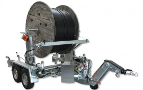 TTA 2091 B with hydraulic drum drive for reeling and unreeling, including lifting and lowering of cable drum by engine